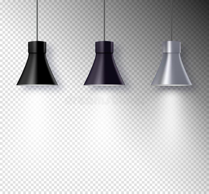 Lampowi iluminatorzy na ściennym wnętrzu Przejrzysty lekkiego skutka projekt Światło reflektorów wektoru wyposażenie ilustracja wektor