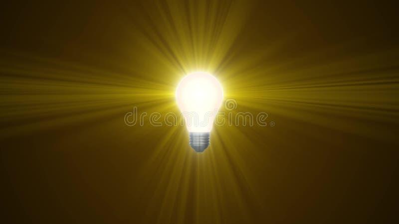 Lampowy ligh żarówki jaśnienie w promieniach światło okulistyczny obiektyw migocze 3d renderingu ilustracyjnego tła nowego  ilustracji