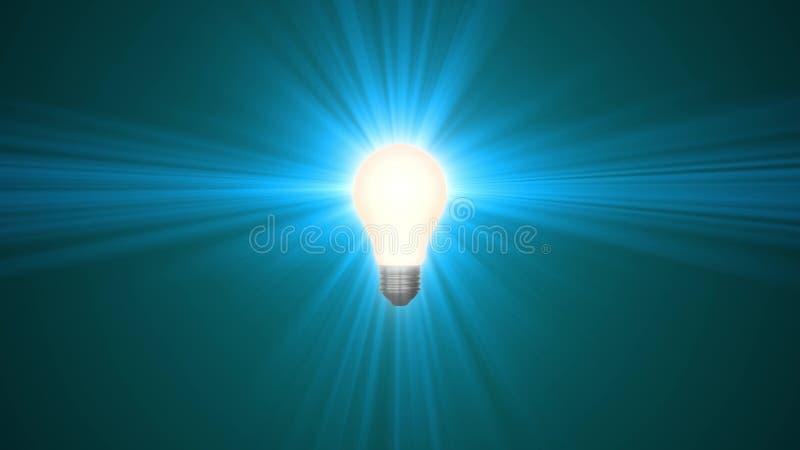 Lampowy ligh żarówki jaśnienie w promieniach światło okulistyczny obiektyw migocze 3d renderingu ilustracyjnego tła nowego  royalty ilustracja