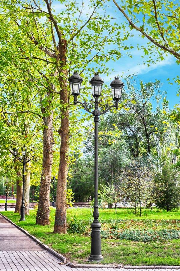 Lamppost στο πράσινο πάρκο περπατήματος στοκ εικόνες
