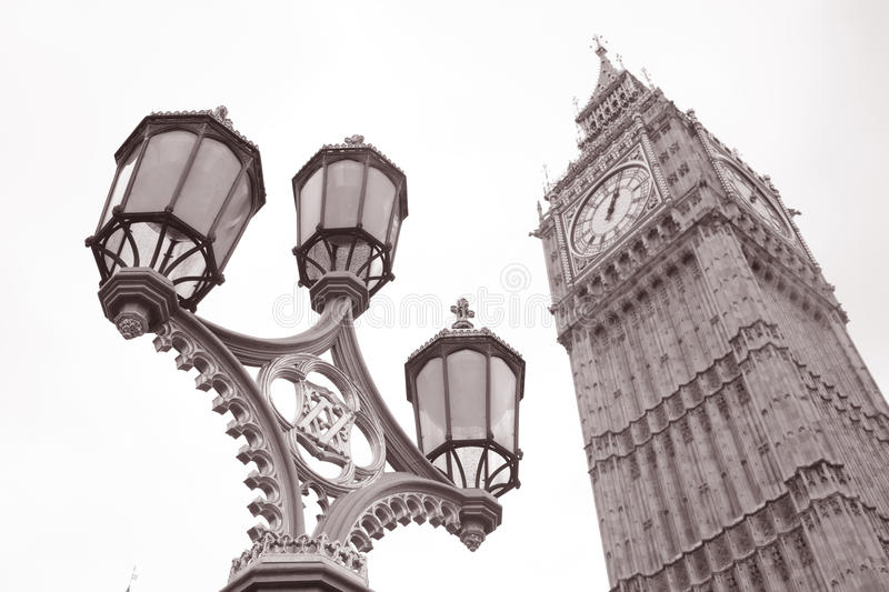 Lamppost And Big Ben At Westminster, London Stock Images