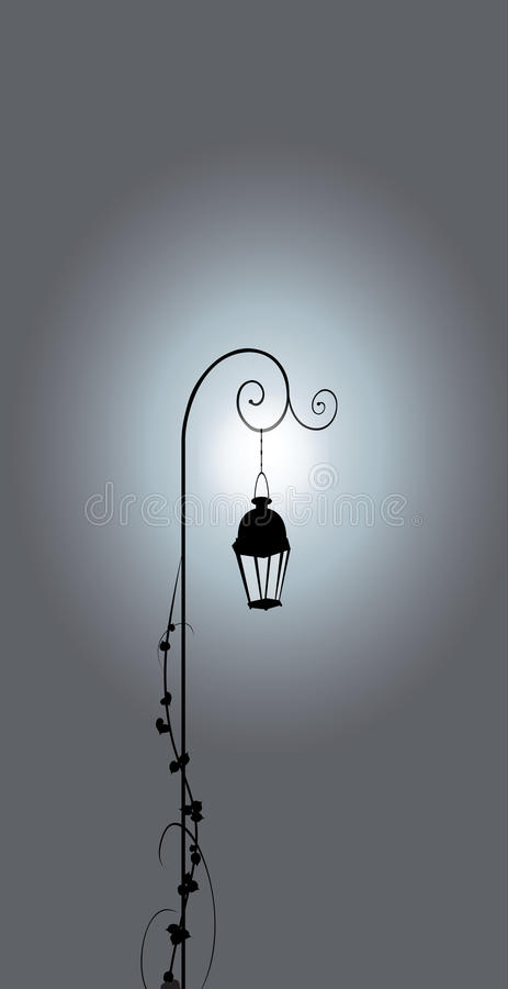 Lamppost bij koude nacht stock illustratie