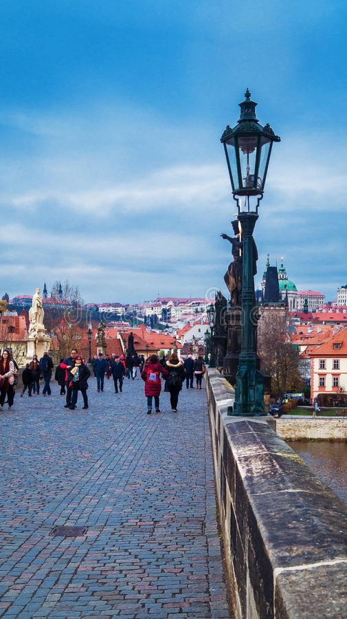 Lamppost on the Charles Bridge in Prague royalty free stock photography