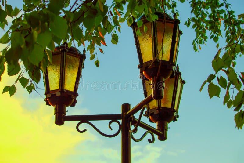 Lamppost com três lâmpadas na cidade fotografia de stock royalty free