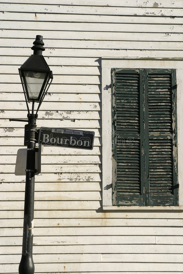 Lamppost da rua de Bourbon imagem de stock royalty free