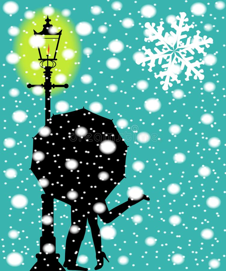 Lamppost in de Sneeuw vector illustratie