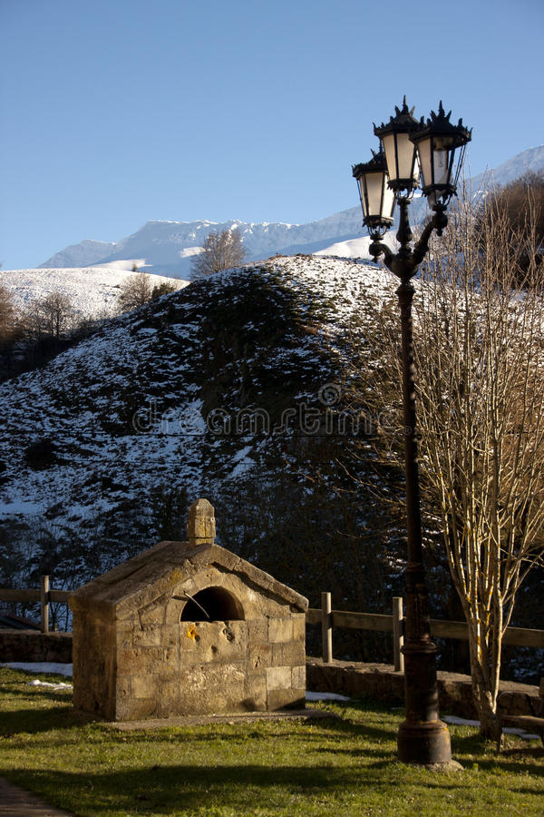 Lamppost in the mountains stock photos