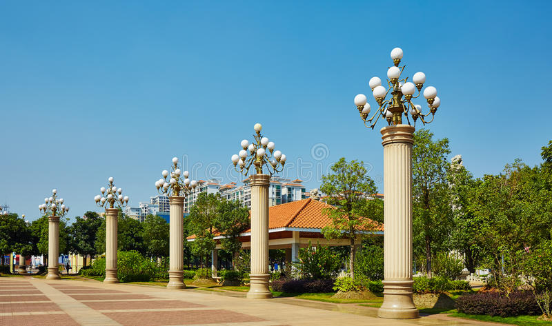 Lamppost outdoor lighting. Large lamppost, outdoor light for landscape lighting royalty free stock image