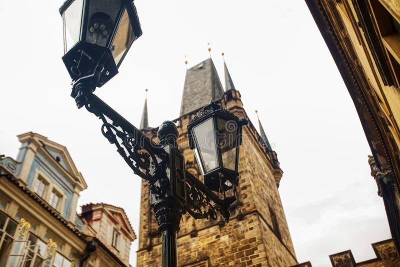 Lamppost-synen från Prag, Tjeckien arkivfoto