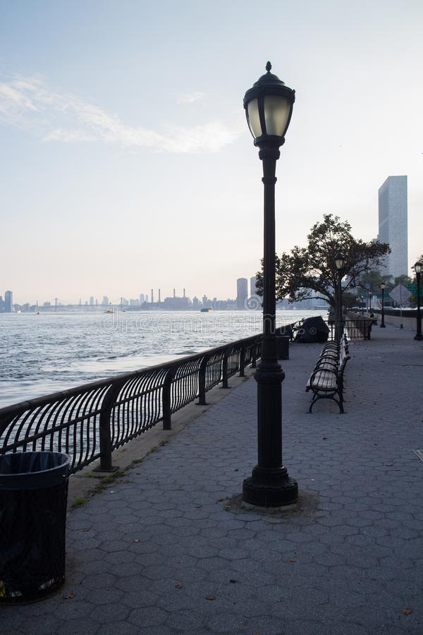 lamppost by the water in sutton place park manhattan new york city