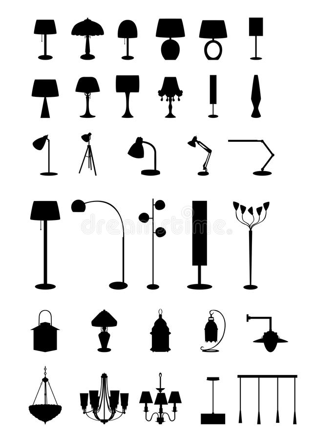 Lamps. Vector illustration of 32 lamps stock illustration