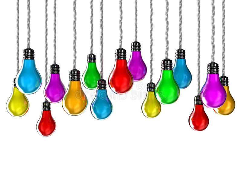 Lamps. Illustration of lamps of different colours on a white background stock illustration