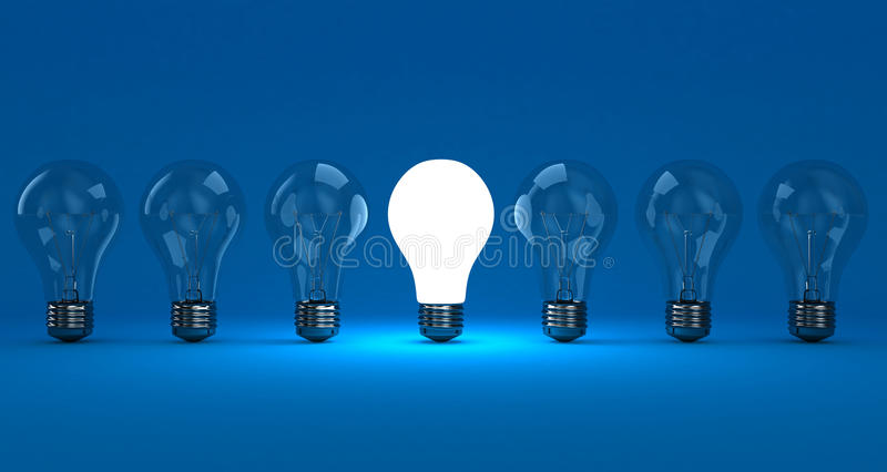 The lamps. A row lamps with one shining on a blue background stock illustration