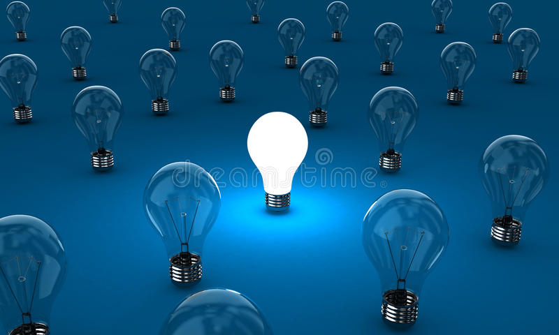 The lamps. Many lamps with one shining on a blue background vector illustration