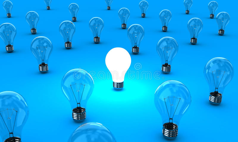 The lamps. Many lamps with one shining on a blue background royalty free illustration