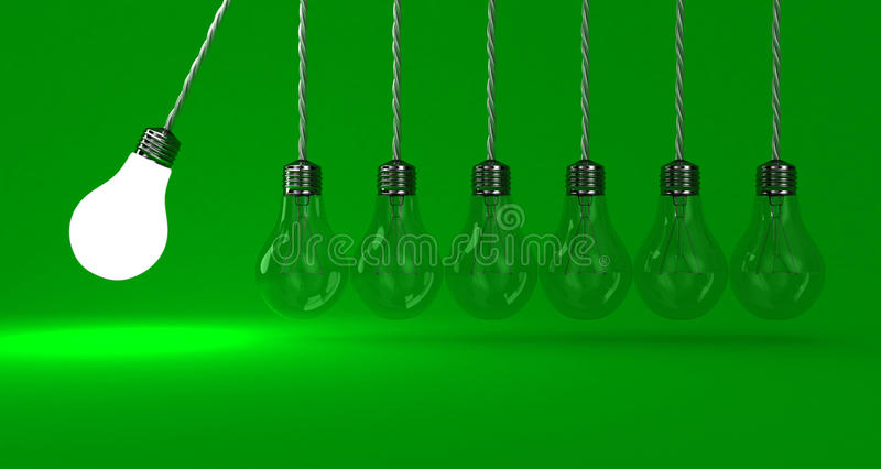 The lamps. Illustration of the pendulum from lamps on a green background royalty free illustration
