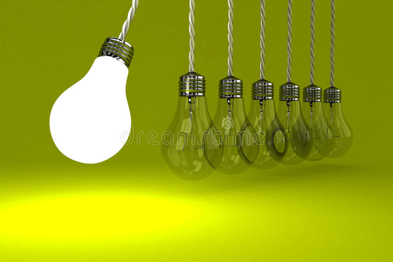 The lamps. Illustration of the pendulum from lamps on a yellow background royalty free illustration