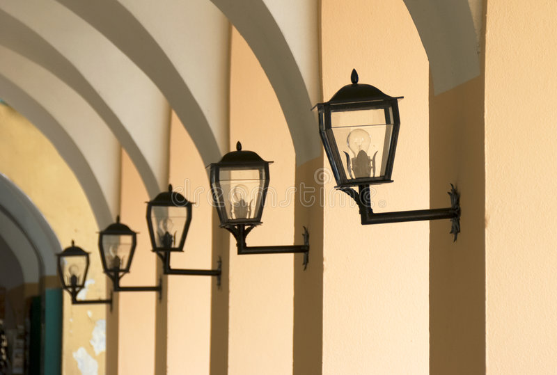 Lamps. In a line - architecture details stock images
