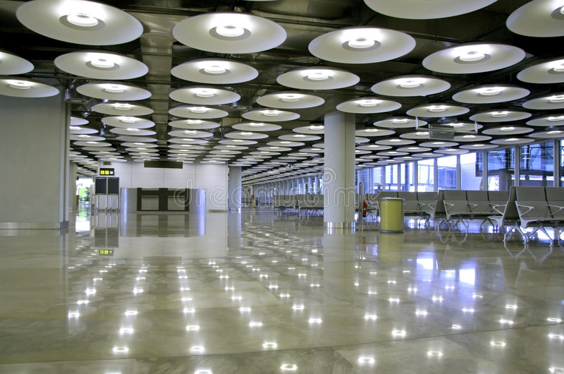Lamps. Interior of airport perspective in Madrid, Spain stock photo