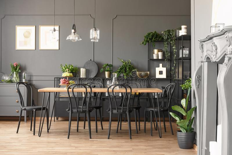 Lamps above wooden table and black chairs in grey dining room in stock images