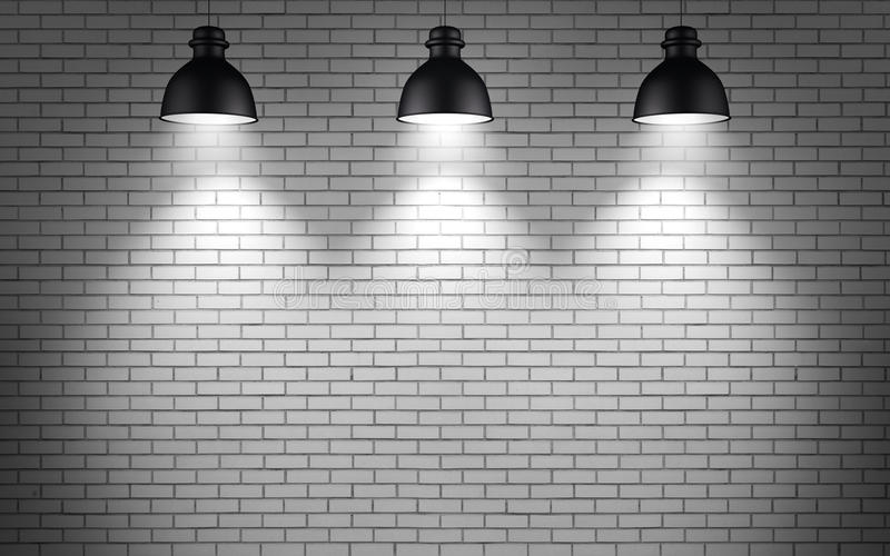 Ceiling lamps at brick wall background