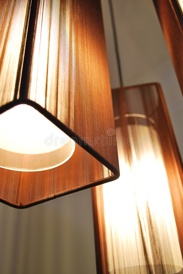 Lamps with Brown Shades stock image