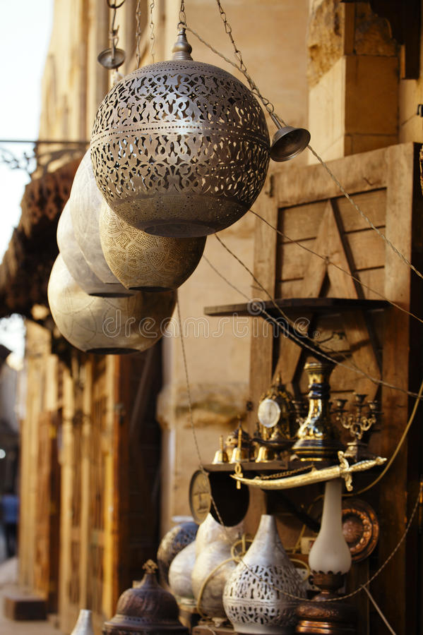 Lamps, crafts, souvenirs in street shop in cairo, egypt. Lamps, crafts, souvenirs in street shop souk in cairo, egypt stock photography