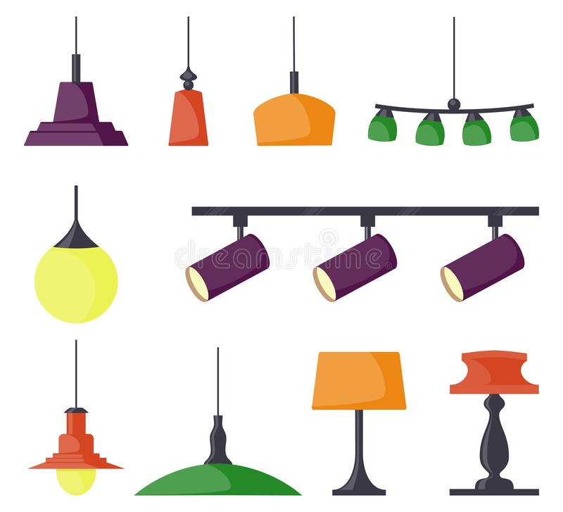 Lamps of different types, set. Chandeliers, lamps, bulbs, table lamp, spotlight - elements of modern interior. Vector illustration royalty free illustration