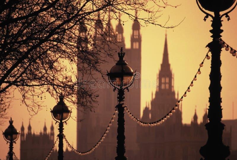 Lamps Embankment Houses of Parliament stock photos