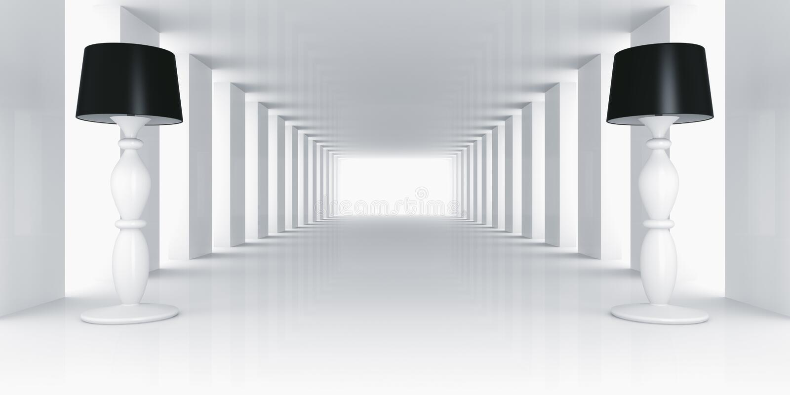 Lamps in empty white room