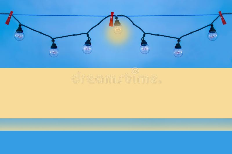 Lamps hanging in a garland. royalty free stock image