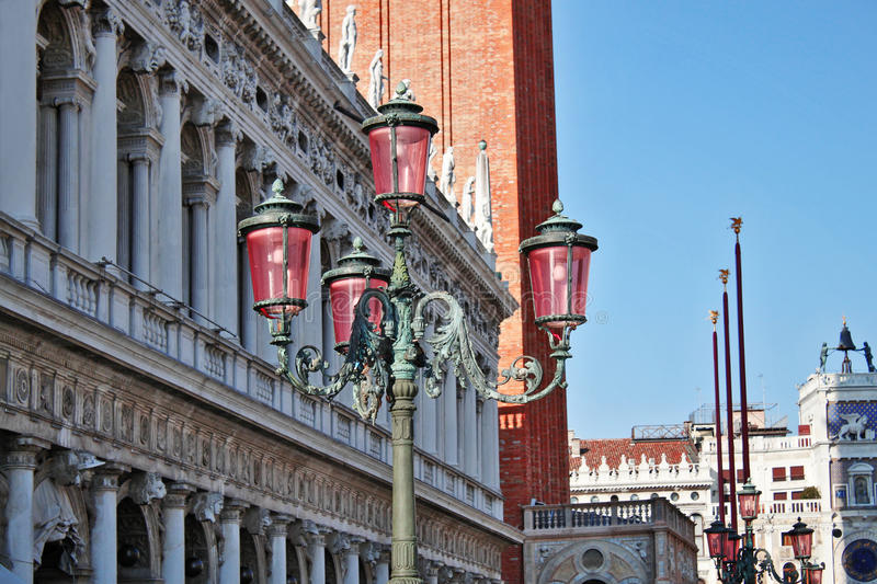 Lamps Of Piazza San Marco Stock Photography
