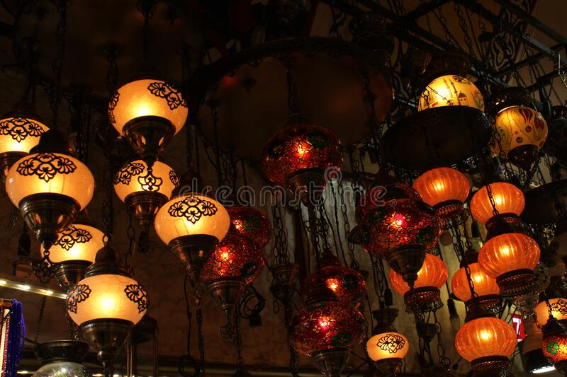 Lamps for sale on Grand Bazaar at Istanbul, Turkey royalty free stock photo