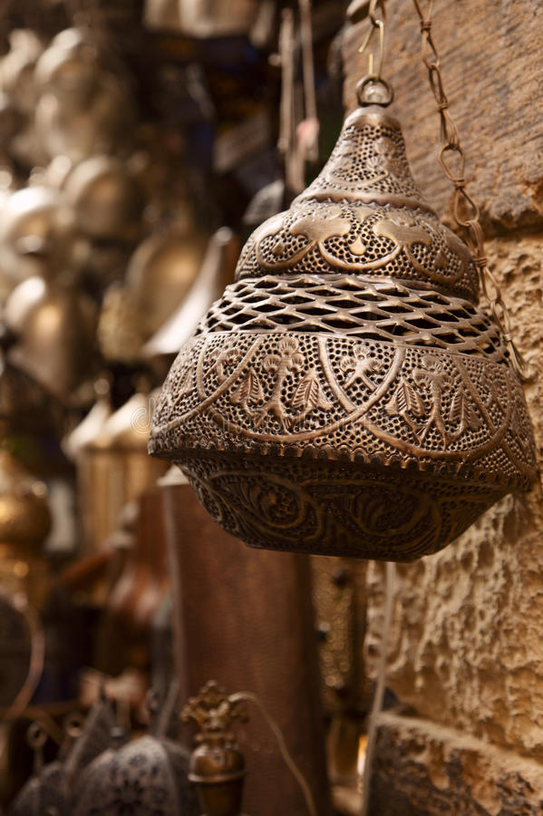Lamps in street shop in cairo, egypt royalty free stock images