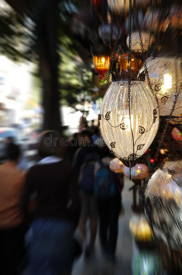 Lamps on a Turkish street stock image