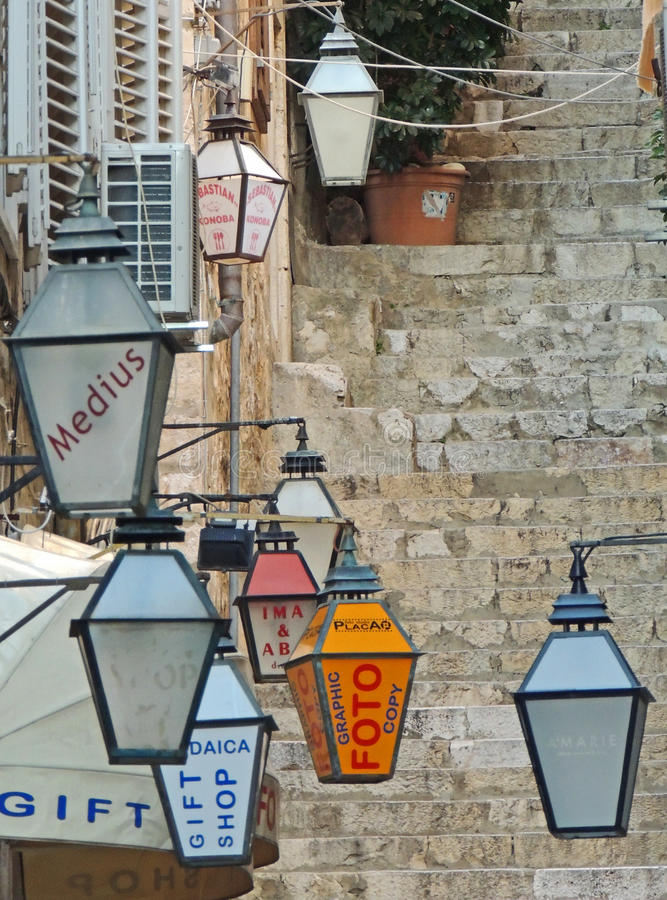 Lamps. Typical lamps used instead of shop signs throughout old town Dubrovnik stock photos