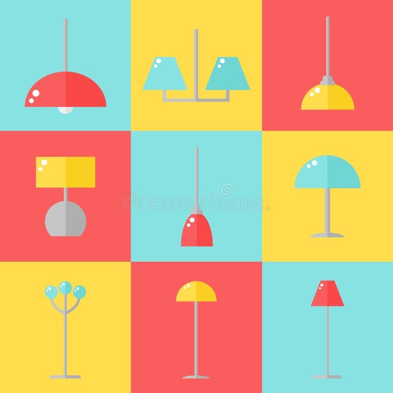 Lampsymboler stock illustrationer