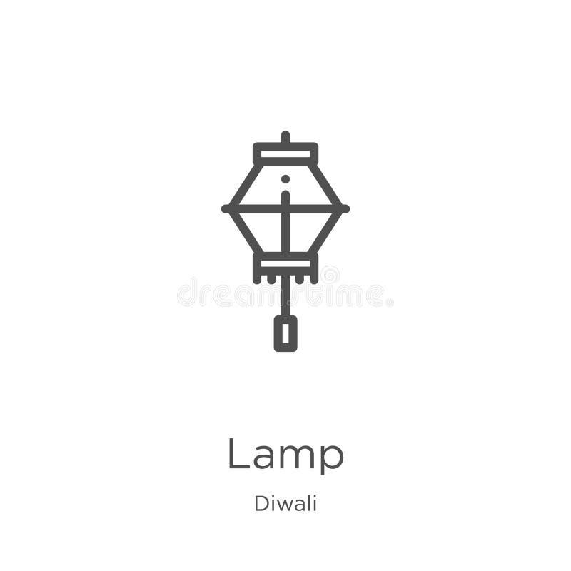 lampsymbolsvektor från diwalisamling Tunn linje illustration f?r vektor f?r lamp?versiktssymbol Översikt tunn linje lampsymbol fö vektor illustrationer