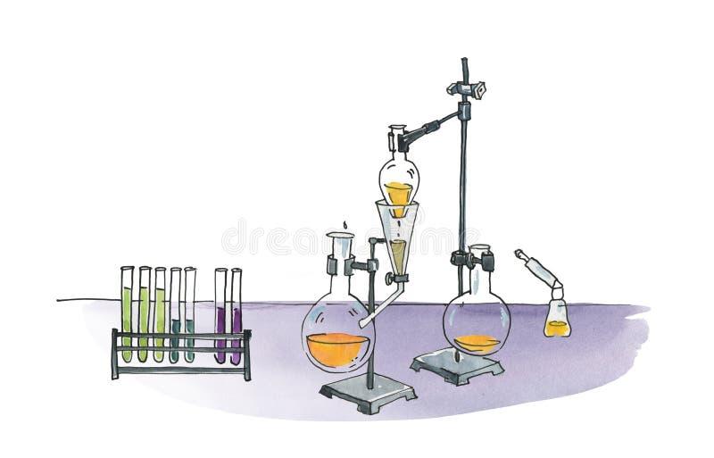 Lampy i kolby do badań na statywie Sublimacja i destylacja cieczy Ilustracja humorystyczna w kolorze wodnym fotografia royalty free