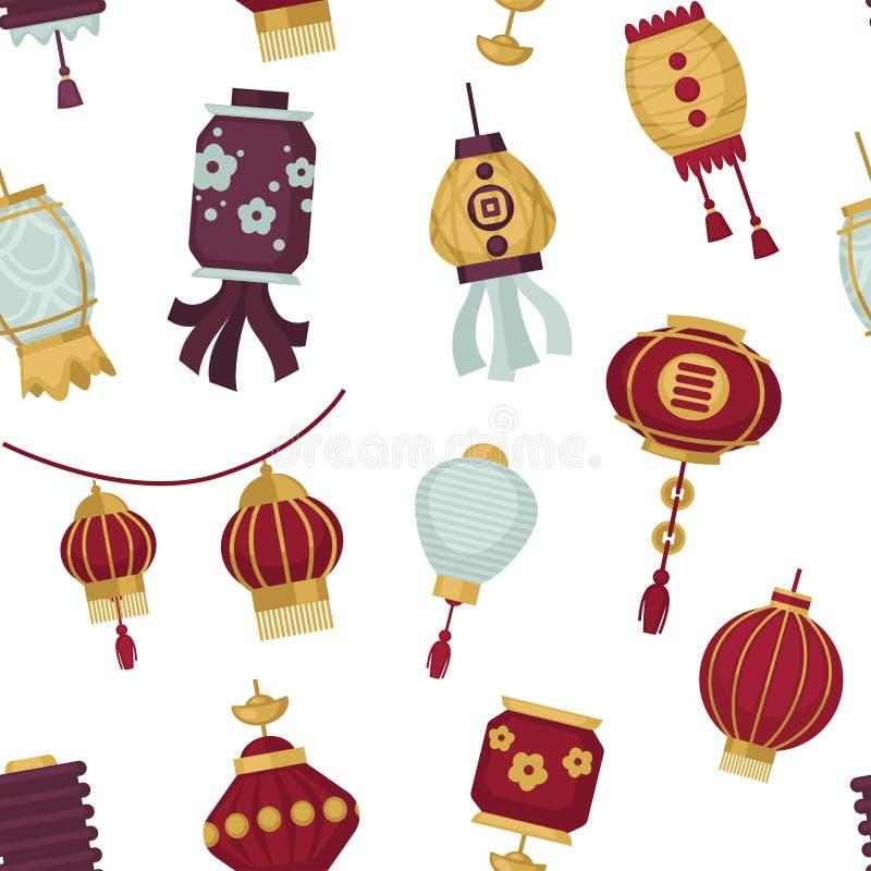 Lampy i lampiony w orientalnym azjata projektują wektor ilustracji