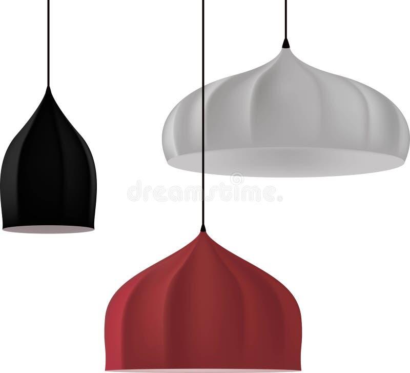 Lampy trzy koloru ustalony 3d model ilustracja wektor