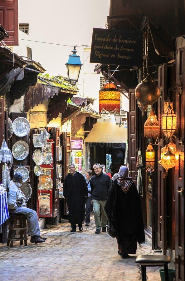 Lampy w Medina fez w Maroko obraz stock