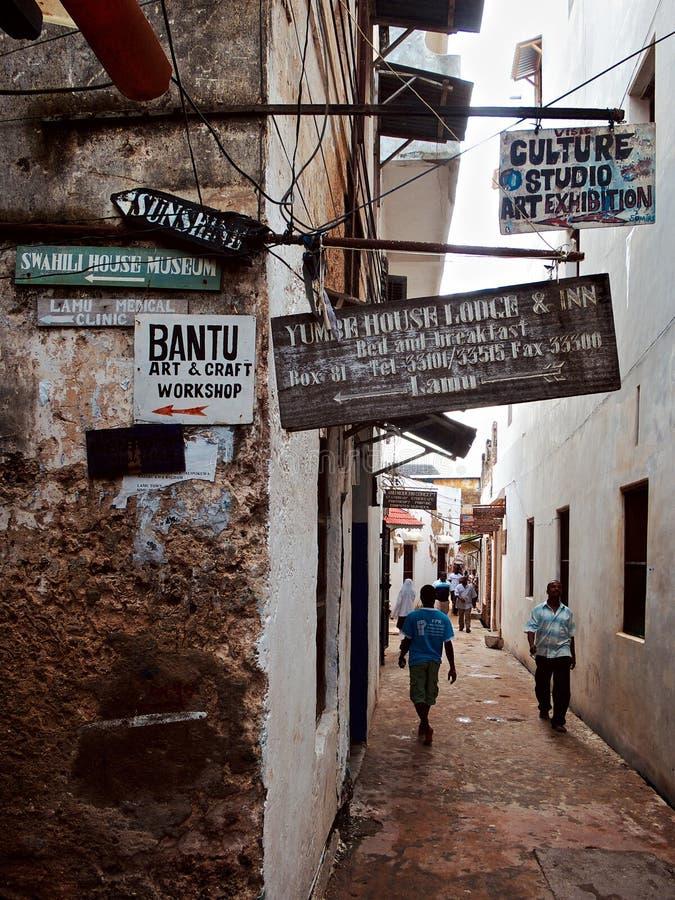 Lamu, Kenja Miastowy widok fotografia royalty free