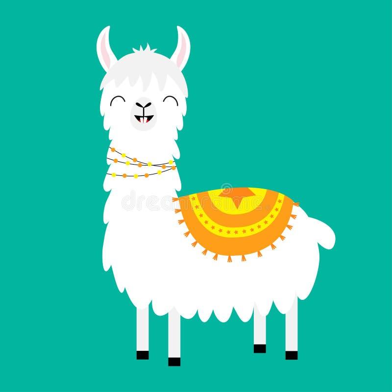Lamy alpaga Ślicznego kreskówki śmiesznego kawaii uśmiechnięty charakter Puszysty włosiany futerko Dziecięca dziecko kolekcja dek ilustracja wektor