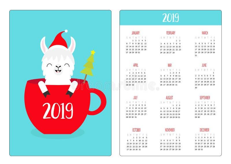 Lamy alpaga w herbacianej filiżance Santa kapelusz Święta moje portfolio drzewna wersja nosicieli Prosty kieszeniowy kalendarzowy ilustracji