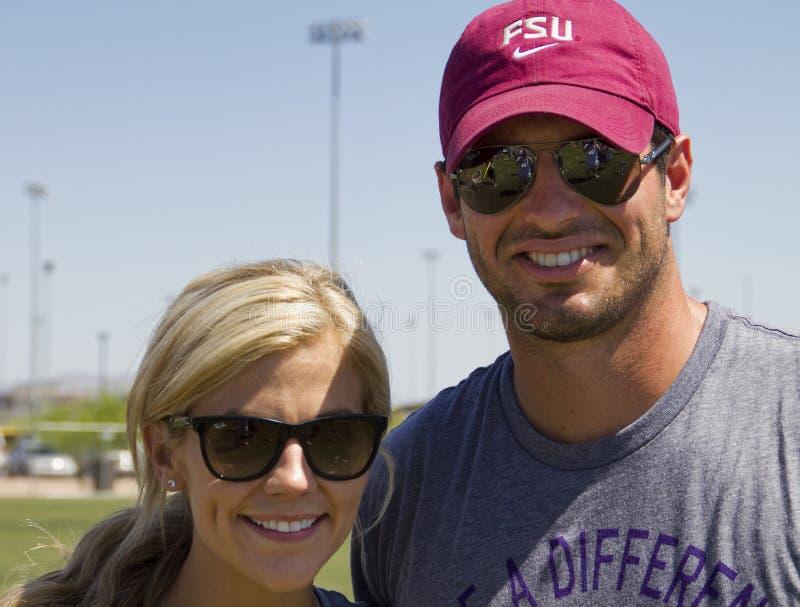 Lançador Christian Ponder dos Minnesota Vikings do NFL foto de stock royalty free