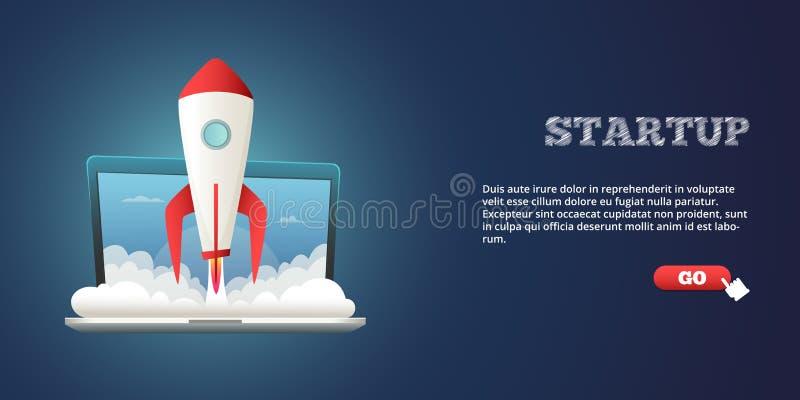 Lançamento bem sucedido da bandeira da loja do Internet Ilustração do vetor ilustração stock