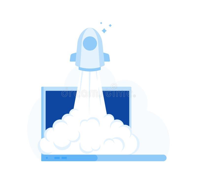 Lançamento bem sucedido da partida Rocket Start a arejar do monitor do portátil Ilustração lisa moderna do vetor do estilo ilustração do vetor