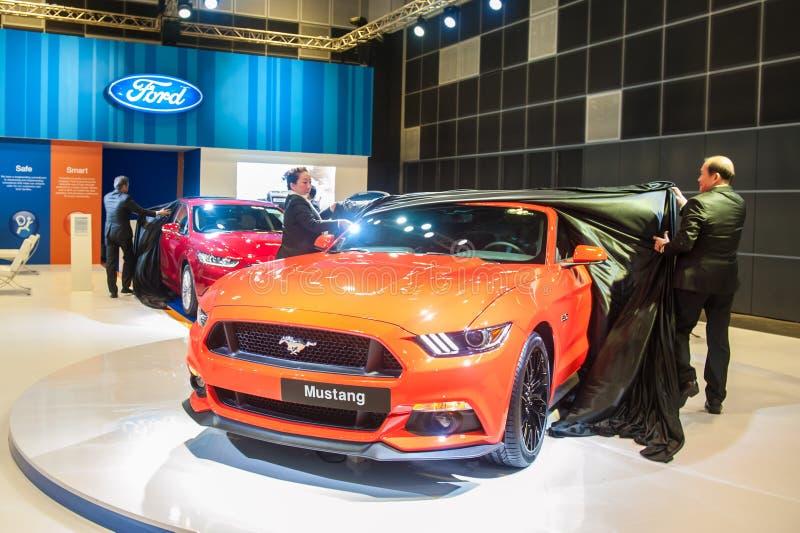 Lançamento de Ford Mustang em Singapura Motorshow 2015 fotos de stock