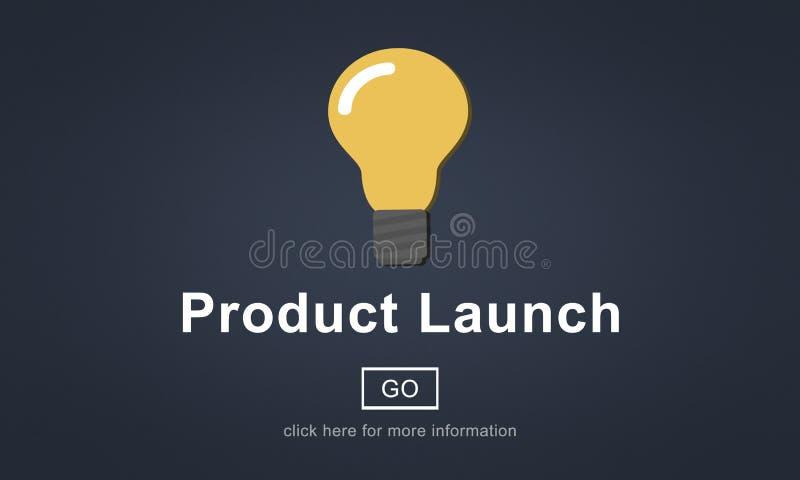 Lançamento de produto novo que introduz no mercado o conceito comercial da inovação ilustração stock